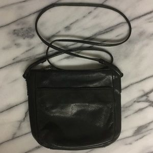 Fossil Black Leather Crossbody Zip Purse